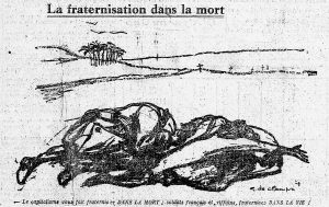 """Call for fraternisation of French and Rif soldiers in L'Humanité, 07.07.1925, p.1. The text reads: """"La Fraternisation dans la mort"""". Subtitle: """"Le capitalisme vous fait frateriser DANS LA MORT; soldats français et riffains, fraternisez DANS LA VIE!"""""""